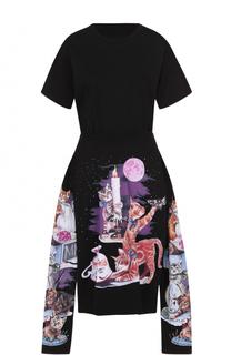 Приталенное платье-миди асимметричного кроя с принтом Mm6
