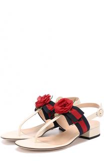 Кожаные сандалии Cindi с цветочной аппликацией Gucci
