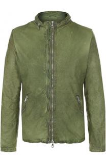 Кожаная куртка на молнии с эффектом крэш Giorgio Brato