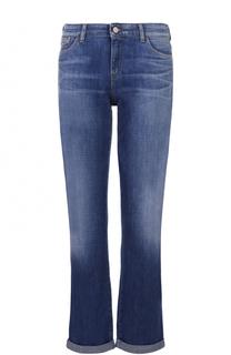 Укороченные джинсы с отворотами и потертостями Armani Jeans