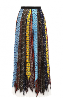 Плиссированная юбка-миди с контрастным принтом Mary Katrantzou