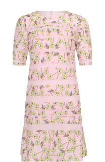 Мини-платье с цветочным принтом и укороченным рукавом Sonia by Sonia Rykiel