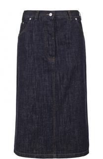 Джинсовая юбка-миди с контрастной прострочкой Dries Van Noten