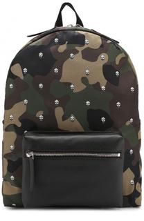 Текстильный рюкзак с камуфляжным принтом и отделкой из натуральной кожи Alexander McQueen