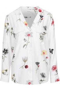 Шелковая блуза прямого кроя с накладными карманами и цветочным принтом Equipment