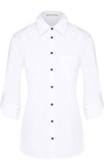 Хлопковая блуза с укороченным рукавом и контрастной надписью на спинке Alice + Olivia