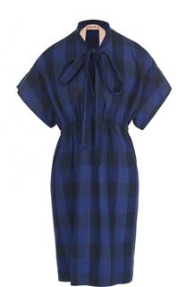 Платье в клетку с завышенной талией и воротником аскот No. 21