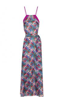 Шелковое платье-макси с цветочным принтом и открытой спиной Emilio Pucci