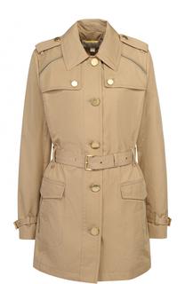 Укороченное пальто с поясом и погонами MICHAEL Michael Kors