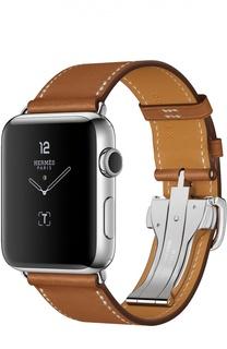 Apple Watch Hermès Series 2 42mm Stainless Steel Case с кожаным ремешком Simple Tour цвета Fauve с раскладывающейся застёжкой Apple