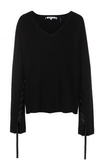 Пуловер с V-образным вырезом и декоративными лентами Helmut Lang