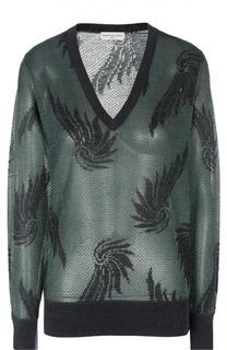 Вязаный пуловер с V-образным вырезом и длинным рукавом Dries Van Noten