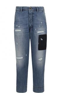 Укороченные джинсы свободного кроя с декоративными потертостями Diesel