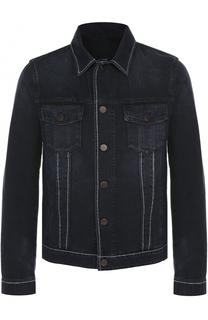 Джинсовая куртка на пуговицах с контрастной прострочкой Lanvin