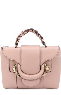 Кожаная сумка с металлическим декором Roberto Cavalli