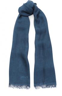 Льняной шарф с необработанным краем Armani Collezioni