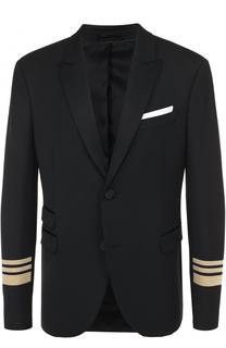 Шерстяной однобортный пиджак с контрастной отделкой Neil Barrett