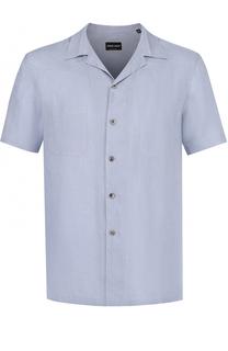 Льняная рубашка с короткими рукавами Giorgio Armani