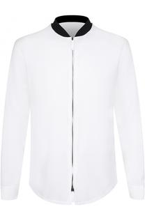 Хлопковая рубашка на молнии с контрастным воротником Giorgio Armani
