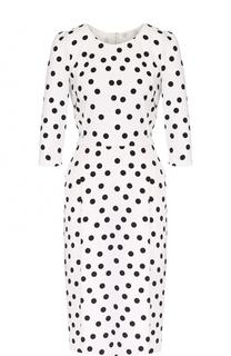 Приталенное платье в горох с укороченным рукавом Dolce & Gabbana