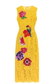 Кружевное платье-миди с контрастной фактурной отделкой Dolce & Gabbana