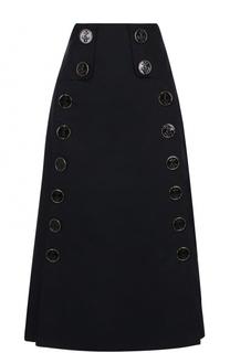 Юбка-миди с завышенной талией и декоративной отделкой Dolce & Gabbana