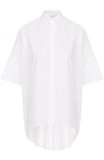 Хлопковая блуза свободного кроя с удлиненной спинкой Yohji Yamamoto