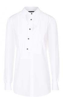 Приталенная хлопковая блуза с асимметричной планкой Dsquared2