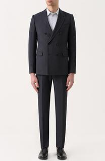 Костюм из смеси шерсти и шелка с двубортным пиджаком Armani Collezioni