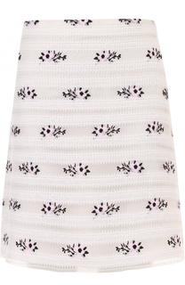 Мини-юбка А-силуэта с цветочной отделкой Giamba