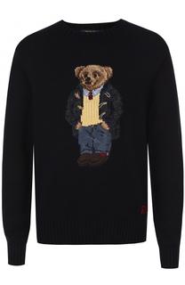 Джемпер из смеси хлопка и льна с контрастной вышивкой Polo Ralph Lauren
