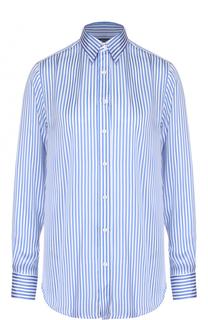 Шелковая блуза прямого кроя в контрастную полоску Polo Ralph Lauren