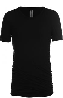 Удлиненная хлопковая футболка с драпировкой Rick Owens