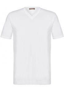 Хлопковая футболка с V-образным вырезом Cruciani