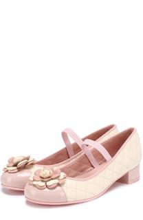 Комбинированные туфли с прострочкой и декором Pretty Ballerinas