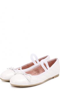 Комбинированные балетки с прострочкой и декором Pretty Ballerinas
