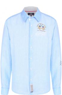 Льняная рубашка с воротником кент La Martina