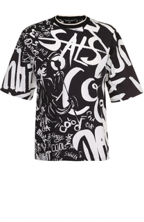 Хлопковая футболка свободного кроя с контрастным принтом Dolce & Gabbana