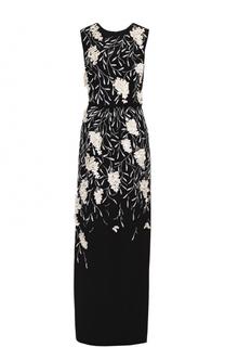 Шелковое платье-макси с контрастной фактурной отделкой Oscar de la Renta