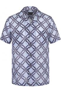 Рубашка с короткими рукавами и отложным воротником Giorgio Armani