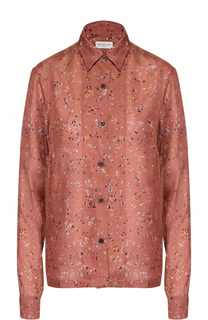 Шелковая блуза прямого кроя с принтом Dries Van Noten