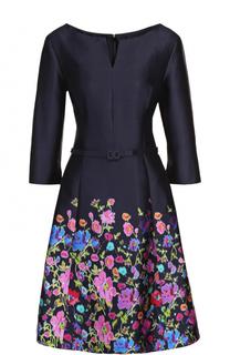Шелковое приталенное платье с поясом и цветочным принтом Oscar de la Renta