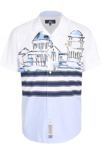 Хлопковая рубашка с короткими рукавами и отложным воротником La Martina