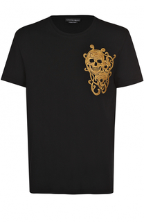 Хлопковая футболка с вышивкой в виде черепов Alexander McQueen