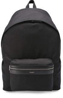 Текстильный рюкзак City с отделкой из натуральной кожи Saint Laurent