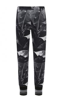 Зауженные хлопковые брюки с принтом и манжетами Dolce & Gabbana