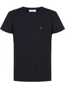 Хлопковая футболка с контрастной вышивкой Ami