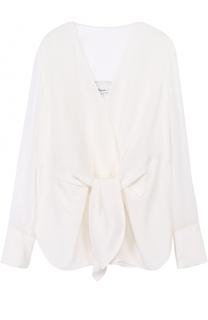 Шелковая блуза с прозрачными рукавами и бантом 3.1 Phillip Lim