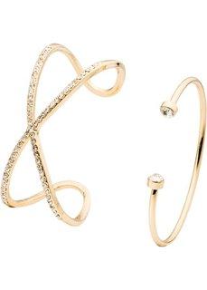 Блестящий браслет (2 шт.) (золотистый + белый) Bonprix