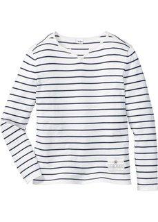 Полосатый пуловер Regular Fit (цвет белой шерсти/синий в поло) Bonprix